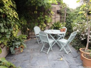 Welsh slate patio, conservation area, plews garden design, London