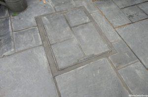 Welsh slate patio and manhole