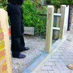 wooden gate posts, front garden design, picket gate, welsh slate path, london