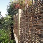 hazel hurdle fence garden design, london, conservation area, garden fencing