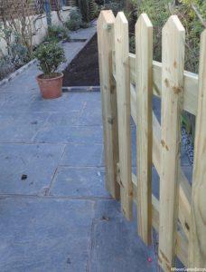 wooden picket gate, front garden design, welsh slate path, london, conservation area