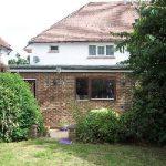 redhill, surrey, garden design, decking, before conservatory extension