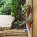 redhill, surrey, garden decking, steps, herbs