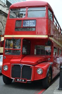 red London bus, chelsea flower show