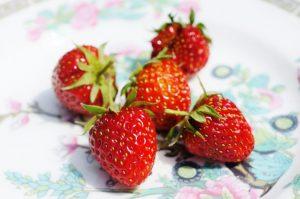 strawberries highlighting strawberry seeds, vintage china, indian tree bone china