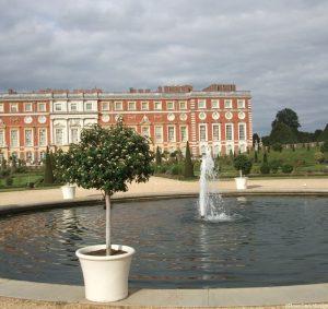 Hampton Court Palace, Privy Garden, formal pond, fountain, topiary, historic gardens