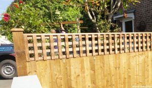 feather edge fence with trellis top, front garden, bromley, Plews truck