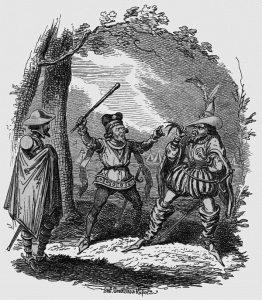 Cruickshank cartoon, leek scene,Shakespeares Henry V