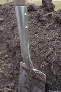 digging a trench two spits deep; a spit is a measurement of soil depth judged by the length of the blade of a spade