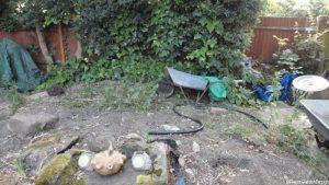 wheelbarrow, unused garden area, site preparation for artificial turf, landscaping