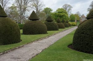 apostle garden topiary, lytes carey manor house, national trust, somerset, dovecote water tower