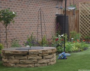 firepit, artificial grass, rose, drystone wall, plews garden design, plews garden landscaping, garden project, ornamental edible gardens,, garden sundries