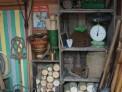potting shed, garden sundries, garden tools, logs