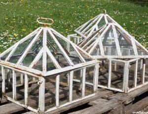 Victorian lantern cloches, walled kitchen garden, Trengwainton, Cornwall, Cornish gardens