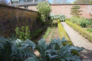 vegetable bed, brick raised bed, walled kitchen garden, Trengwainton, Cornwall, Cornish gardens