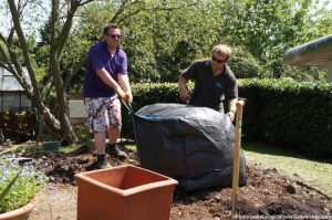 soil improver added, memory garden, plews garden design, plews garden landscaping, st christophers hospice
