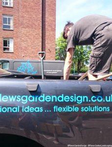 unloading soil improver, memory garden, st christophers hospice, plews garden landscaping, plews garden design