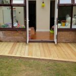 New angled decking, raised beds, family friendly garden