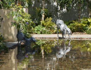 pool, dog statues, dogs trust garden, show garden, RHS Hampton Court Flower Show 2016