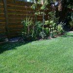 secret path flower border, lawn, family friendly garden