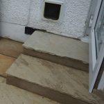 cat flap, steps, indian sandstone patio, garden design, landscaper, cat friendly gardens
