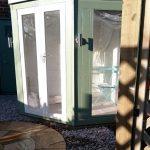 summerhouse, trellis shadows, circular indian sandstone patio, garden design, landscaper