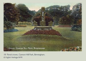 floral crown, cannon hill park, 3D carpet bedding, Queen Victoria's diamond jubilee 1987, birmingham, copyright english heritage, public parks bedding displays