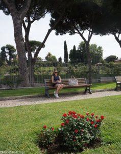 hari on bench, roseto communale, rome, rose garden, italy