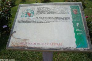 information board, shrub roses, roseto di roma, roseto comunale, italy, rome