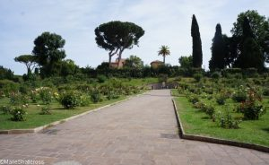 roseto communale, looking towards fountain, rome, rose garden, italy