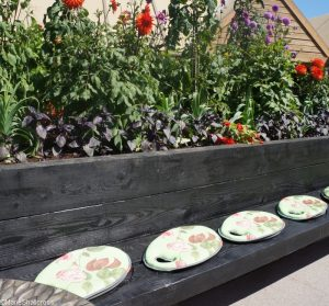 seating, raised bed, herbs, dahlia, rhs kitchen garden, show gardens, rhs hampton court flower show 2017