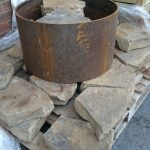 fire pit, wrapped, drystone wall fire pit, metal inner rings