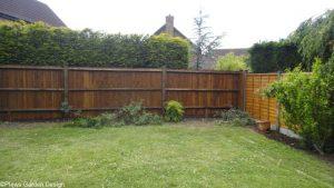 new feather edge fence, garden project in progress, garden designer