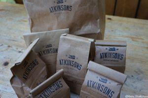 bags of coffee beans, atkinsons tea & coffee merchants