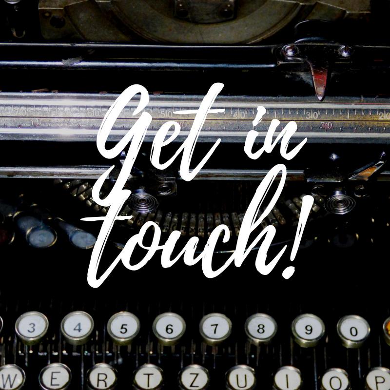 get in touch, contact us, plews garden design, vintage typewriter