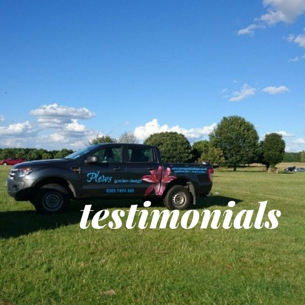 Testimonials, Plews garden Design, plews truck