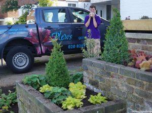 front garden planting design, london, plews truck