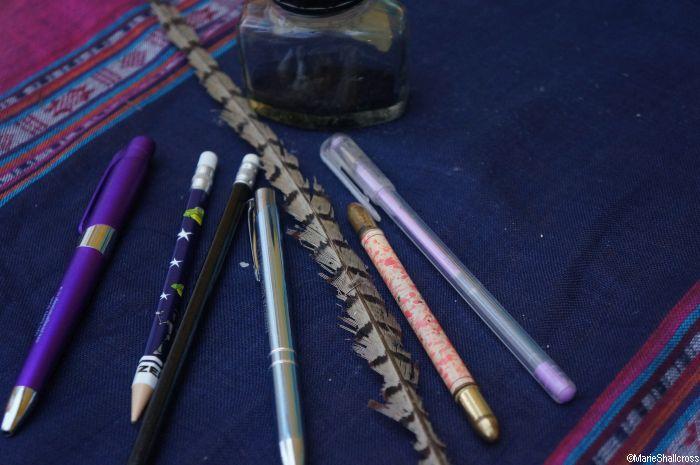 pens, pencils, ink, quill pen, marie shallcross, garden blogger, gardening writer, plews in the media