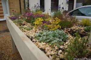 small green roof, bin store, front garden design, york stone, alpines