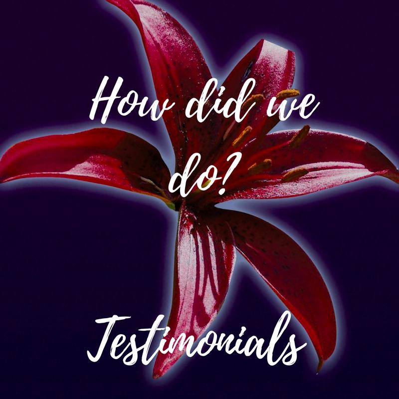 How did we do, Testimonials, plews lily, plews garden design