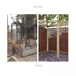 burnt trees, fire damaged garden, pergola, framed hazel hurdle fence panels, slate chippings, before & after pic