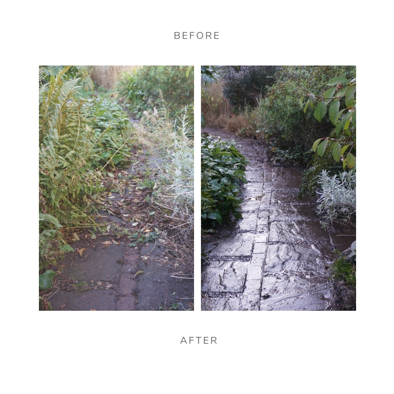 before & after garden path and garden pics, house sale garden clearance and planting